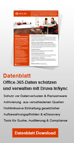 druva insync Office365 Datenblatt